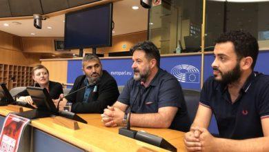 Photo of Manu Pineda apoya en Bruselas al escritor palestino Khaled Barakat, vetado en Alemania por su activismo contra la ocupación israelí