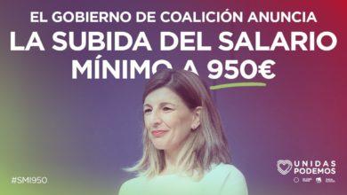 Photo of Yolanda Díaz: «El Gobierno y los agentes sociales hemos acordado elevar el SMI a 950€. Es el primer gran acuerdo de la legislatura fruto de la voluntad de todas las partes de hacer grande el Diálogo Social»