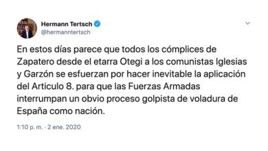 """Photo of IU y Podemos registran una querella contra el ultraderechista Hermann Tertsch en el Supremo por """"provocación para la rebelión armada"""" tras arengar a las FF.AA contra el Gobierno"""