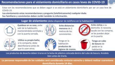 Photo of Recomendaciones para el aislamiento domiciliario en casos leves de COVID-19 – Ministerio de Sanidad