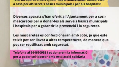 Photo of Campaña para confeccionar mascarillas – Ayuntamiento de La Vall d'Uixó
