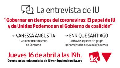 Photo of Acto «Gobernar en tiempos del coronavirus: el papel de IU y de Unidas Podemos en el Gobierno de coalición»