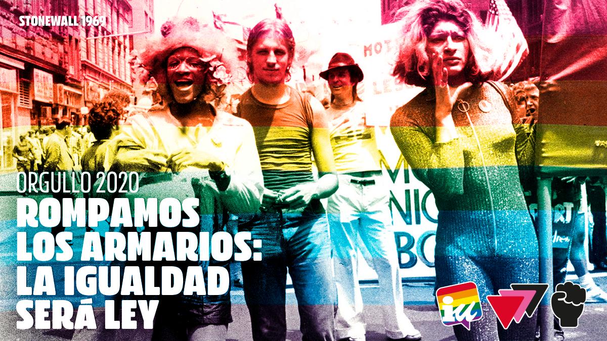 «Rompamos los armarios: la igualdad será ley» – Manifiesto del Área de Libertad de Expresión Afectivo-Sexual de IU (ALEAS-IU) por el Orgullo 2020
